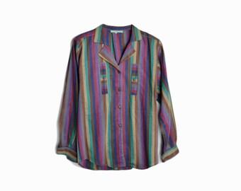 Vintage 70s Cacharel Paris Striped Shirt - women's medium/large