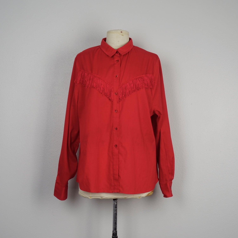 red fringed western shirt long sleeve Shirt Street button up cowboy cowgirl shirt marked 42 chest 48 large XL men women unisex wrJBWqL