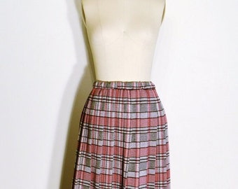 SUMMER HEAT SALE Vintage 1970s Skirt - 70s High Waist Skirt - Grey and Red Pleated