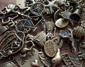 Charm and Bead Mix, 50 Charms, Mixed, Bronze Tone, UK Seller, random mix, bargain price while stocks last