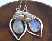 Moonstone Woven Pearl Little Leaf Earrings