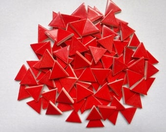 Mosaic Tiles-100-1 inch- Red triangle tiles- ceramic mosaic tiles, Handmade