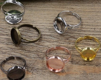 40 Ring Base Brass Silver/ Gold/ Rose Gold/ White Gold/ Gun-Metal Plated W/ 10mm/ 12mm/ 14mm/ 16mm/ 18mm/ 20mm Round Bezel Setting- Z5921