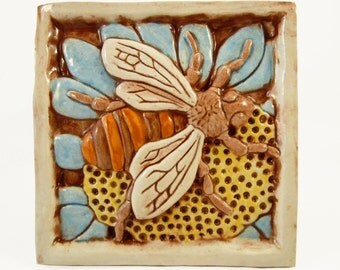 Bee on flower Ceramic Art Tile - Light Blue, 4 x 4 Handmade Ceramic Tile, Wall Art