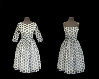 1950s Dress • 50s Party Prom Cocktail Dress • Polka Dot • XS