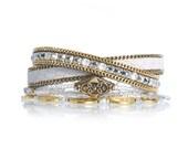 Beaded leather wrap bracelet - white reptile leather cuff - gold bracelet - beaded multiple strands bracelet - bohemian chic leather jewelry