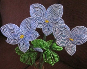 French Beaded Flowers Purple Pansies