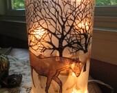 Bare trees,horses,western,winter trees,wine bottle lamp,wine bottle lights,wine bottle decor,lighted wine bottle,wine bottle with lights
