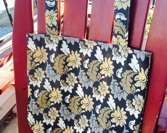 For Charity Reusable Gray and Gold Floral Book Bag Market Bag Grocery Bag Tote Bag for Dachshund Rescue