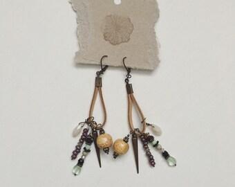 Tan Suede cord bauble earrings