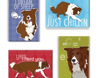 Border Collie Gifts Set of Four Refrigerator Magnets - Brown Red Border Collie Dogs