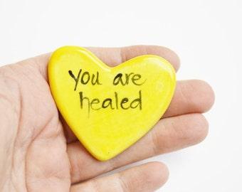 You Are Healed Ceramic Prayer Heart Yellow