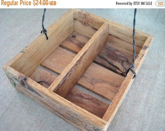 Happy 4th with 40% Off Rustic Wood Caddy / Crate / Basket for Wedding or Home Decor / Primitive Wood Herb Crate for Woodland or Garden Weddi
