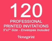 120 PRINTED INVITATIONS with Envelopes Included, Professional Press Printing
