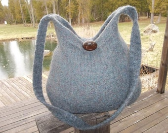 13-1186 Handknitted felted wool purse,tote,handbag fs