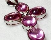Pink Kunzite Topaz Cross .925 Silver Pendant