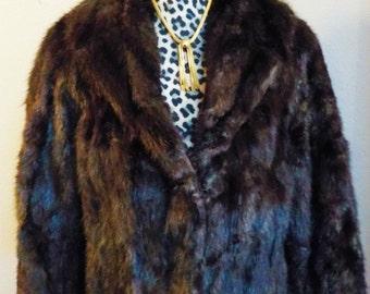 Vintage Cropped Morton's WA D.C. 100% Brown Mink Coat Sz M