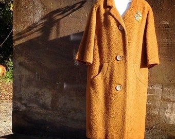 50s wool coat / mad men / cognac coat / wool boucle coat / vintage coat