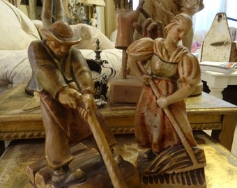 Vintage Shabby Cottage French Man and Woman Farmer Pr Bookends