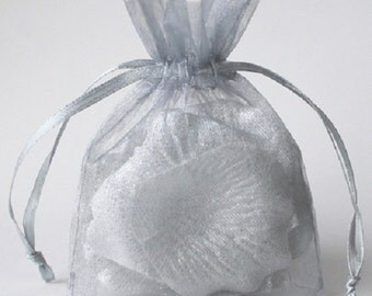 Silver Wedding Favors Table Decorations 3x4 Organza Bags 100