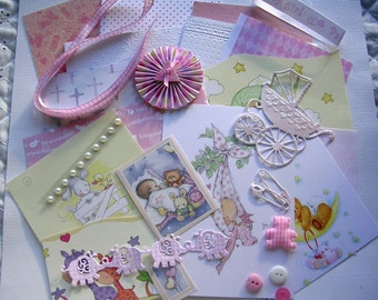 BABY GIRL Inspiration Pack;DIY Journal Kit, Scrapbooking, Daily Planner, Smash Books, Project Life, Cardmaking