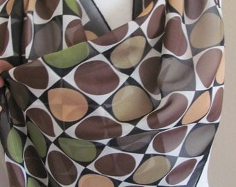 "Beautiful Brown Soft Sheer Silk Scarf // 13"" x 60"" Long // Best of the Best"