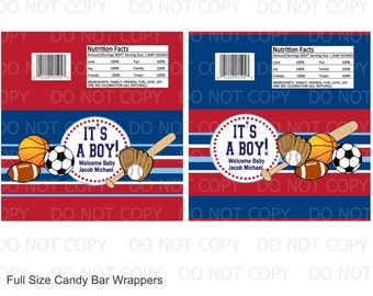 Printable DIY Sports Theme Baby Boy Baby Shower Full Size Candy Bar Wrappers - 2 designs personalized