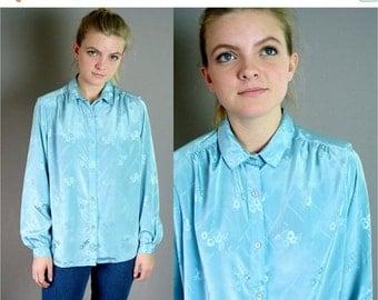 ON SALE Vintage 1980s Silky Blue Patterned Blouse