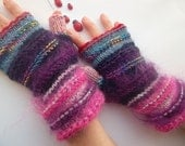 HAND KNIT GLOVES / Women Accessories Fingerless Mittens Elegant Warm Wrist Warmers Arm / Crochet Winter Feminine Romantic Cabled Striped 824