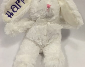 WHITE  Embroidered and Personalized Plush Easter Bunny