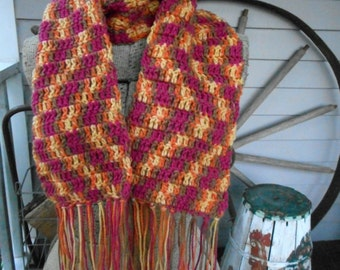The Pacific Sunset Crochet Scarf. Homespun Gypsy Bohochic Hand Crocheted Fringe Scarf in warm gold, orange rose and copper.