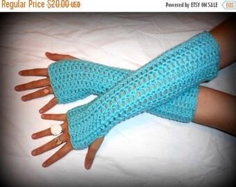 Long Arm Warmers The Aruba Seas Handmade Crochet Victorian style. Turquoise Light Testing, Smoking, Driving, Winter, Fall  Fingerless Gloves