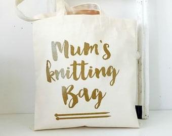 Slight second - Mum's  Knitting Bag - knitting gift for mum - knitting project bag