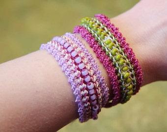 Bead Pattern, Thread Crochet Bracelet, Beaded Jewelry Tutorial  (45)