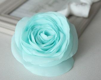 Mint rose flower, bridal hair clip, wedding hair accessories, bridal hairpiece