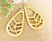 WP22 / #11 Nature Wood /Geometric Tear Shape for Earring /Laser Cut Geometric Wooden Charm /Pendant /Large Filigree Wood Dangle/DIY Ornament