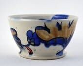 Small Blue White Bowl, Great Gift Idea!  Cobalt Blue, Chocolate Brown and Red Porcelain Soup, Cereal or Ice Cream Bowl with Flower Pattern