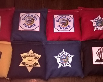 8 Resin Poly or 10 Corn fill for 40. Police Fire 1st Responder Corn hole Personalized. Cornhole board Bean Bags by Southsidebeanbags