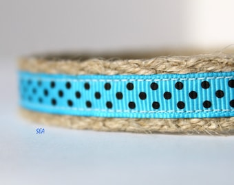"Teal and Black Polka Dots Collar, 5/8"" Wide Dog Collar, Narrow Dog Collar, Teal Collar, Dog Collar"