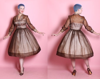 DELECTABLE 1950's New Look Illusion Strapless Bodice Sheer Chocolate Brown Silk Organza Over Pale Nude Pink Satin Party Dress - Peekaboo - L
