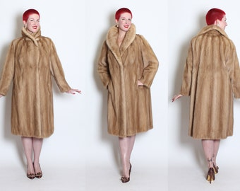 LUXURIOUS 1950's Classic Pastel Natural Female Mink Fur Stroller Swing Coat w/ Large Shawl Collar & Hidden Hip Pockets - Mint - M to L