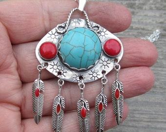 Turquoise Magnesite and Coral Sterling Silver Pendant