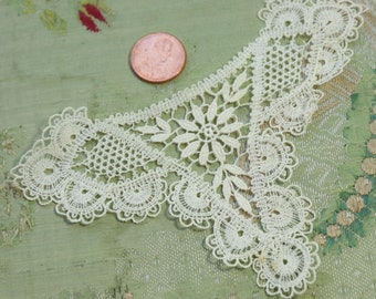 1 vintage antique cotton lace applique flapper dress trim bodice insert  french doll dress tiny intricate trim
