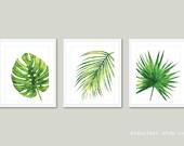 Tropical Art, Palm Wall Art, Monstera Leaf Print, Monstera Art, Plant Art, Leaf Print, Tropical Leaves Art, Palm Print - Set of 3 Prints