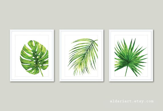 Tropical Leaves Wall Decor : Tropical art palm wall monstera leaf print