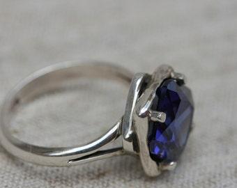 Tanzanite Silver Ring, Handmade Sterling Silver Tanzanite Ring, Women's Big Stone Rings, Silver Jewelry, Blue Stone Silver Rings