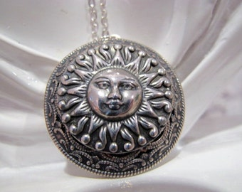 Midday Sun Locket. Victorian Sun Locket Necklace in Antique Silver with a Silver Plated 24 inch Rolo chain