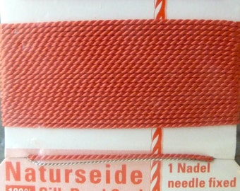 Size 1 Coral Griffin Silk Beading Cord with Needle Attached -  Pure Silk Thread