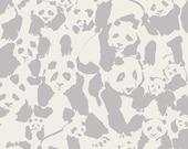Grey and White Panda Jersey Knit Fabric, Pandalicious by Katarina Roccella Art Gallery Fabrics, Pandalings Pod in Shadow 1 Yard JERSEY KNIT