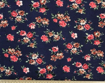 Navy Blue Red and Brown Floral Single Brushed Poly Spandex Knit, 1 yard